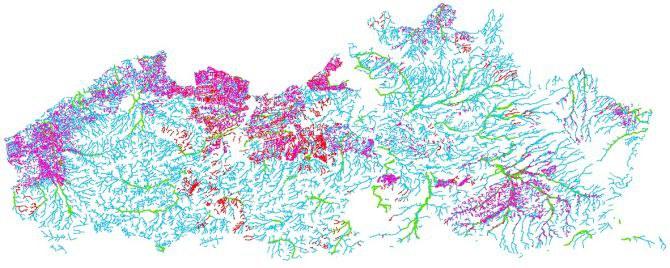 Voorbeeld kaart gerangschikte onbevaarbare waterlopen en publieke grachten