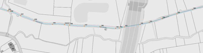 Voorbeeld van atlaspunten op gerangschikte onbevaarbare waterloop